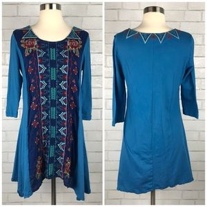 Johnny Was Embroidered T-Shirt Tunic Small B0849